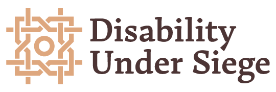 "Disability Project logo - A beige woven pattern alongside the words ""Disability Under Siege"" in a dark brown font"